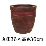 【】【おしゃれな植木鉢 鉢カバー】横じま丸深型ツートン 植木鉢 ツートン茶色系 テラコッタ L 38cm 色濃い目の場合もあります