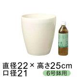 ラスターポット 225型〔22cm〕 白 植木鉢 おしゃれ 鉢カバー〔6号鉢用〕