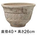 【送料無料】 リーフデザイン 丸浅型 アンティーク 素焼き鉢 テラコッタ鉢 RV 40cm ショコラ