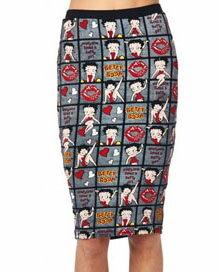 ベティー(ベティ) ブープ betty boopキュートなペンシルスカートタイトスカートストレッチスカート総柄 黒地
