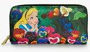 ディズニー DisneyAlice In WonderlandLoungefly x Alice Garden Walletラウンドチャック ウオレット長財布 おさいふloungefly ラウンジフライ不思議の国のアリスアリス ガーデン柄 パンジーフラワー柄