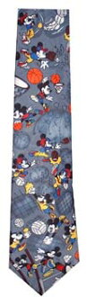 Mickey Mouse sports pattern tie grey