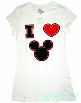 Mickey Mouse mickey mouse tee short sleeve T shirt (PITA T ) white I LOVE MICKEY