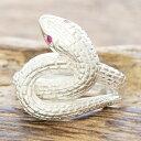 【あす楽】ヘビリング 指輪 メンズスネーク 蛇 白蛇シルバー 925 ルビーTJK s719fix/