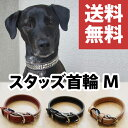 【送料無料】犬の首輪 スタッズ首輪 M(革幅:23m/m 内径:約39-37-35-33cm)【馬具職人ハンドメイド】