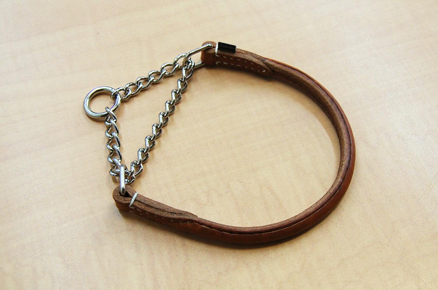 【送料無料】犬の首輪 ハーフチョーク S(丸革 革幅:12m/m 内径:約40.5~31cm)【馬具職人ハンドメイド】