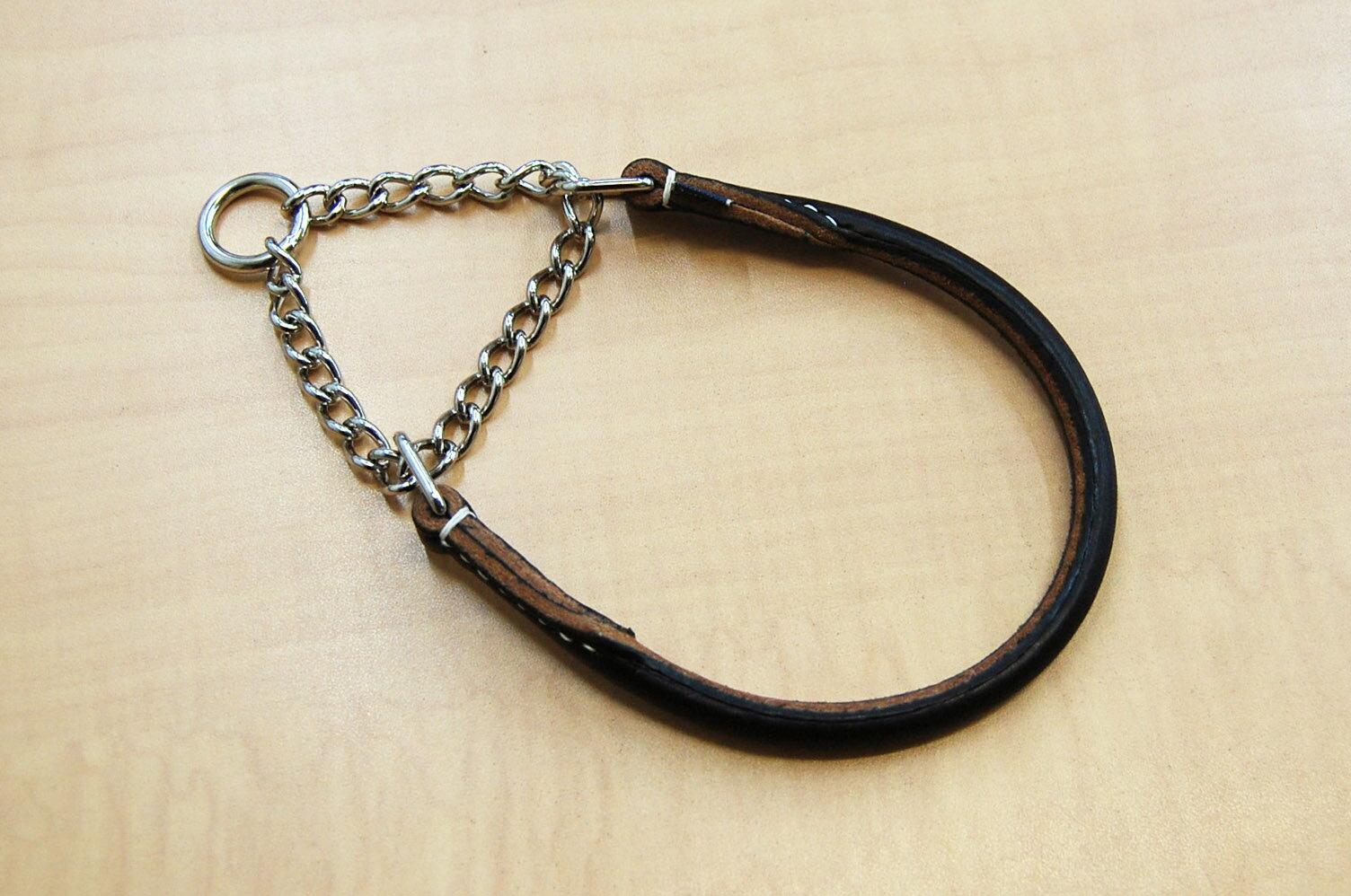【送料無料】犬の首輪 ハーフチョーク M(丸革 革幅:15m/m 内径:約49.5~39cm)【馬具職人ハンドメイド】