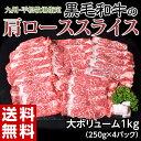 送料無料 九州 平松牧場指定 「肩ローススライス」大ボリューム1キロ (250g×4パ