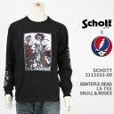 ショッピングschott Schott Grateful Dead ショット グレイトフルデッド Tシャツ スカル&ローズ SCHOTT GRATEFUL DEAD T-SHIRT SKULL & ROSES 3113103-09【国内正規品/長袖/ロンT】