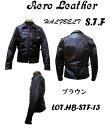 AeroLeather(エアロレザー) Halfbelt STF (ハーフベルトSTF)ブラウンフロントクォーターホースハイドAL-HB-STF-BRN ライダース ジャケット レザー ホースハイド 馬革 本革 革 皮「NC」