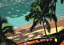 鈴木英人「WAIKIKI BEACH」1988年 リトグラフ 額付版画作品国内 送料無料