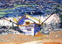 鈴木英人「THE BOAT WITHOUT LIFE SAVER」(ノーマルエディション)1991年 リトグラフ 額付版画作品国内 送料無料