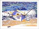 鈴木英人「THE BOAT WITHOUT LIFE SAVER」(スペシャルエディション)1991年 リトグラフ 額付版画作品国内 送料無料
