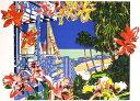 鈴木英人「理想的なバハマのテラス」 -AN IDEAL TERRACE IN BAHAMA-1992年 リトグラフ 額付版画作品国内 送料無料