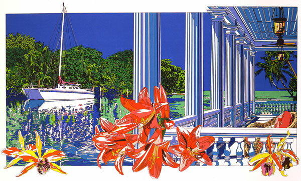 鈴木英人「入江に輝く白いデッキ」 -A SHINY WHITE DECK IN THE INLET-1992年 リトグラフ 額付版画作品国内 送料無料