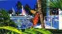 鈴木英人「心地よい陽影」 -COMFORTABLE IN THE SHADE-1993年 シルクスクリーン 額付版画作品 国内送料無料