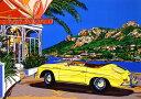 鈴木英人「コート ダジュールの小高い丘」 -HILLTOP IN COTE D'AZUR Yellow PORSCHE-1995年 シルクスクリーン 額付版画作品 国内送料無料