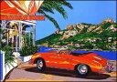 鈴木英人「コート ダジュールの小高い丘」 -HILLTOP IN COTE D'AZUR Red PORSCHE-1995年 シルクスクリーン 額付版画作品 国内送料無料