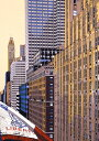 鈴木英人「ゴールデン マンハッタン」 -GOLDEN MANHATTAN-1995年 シルクスクリーン 額付版画作品 国内送料無料