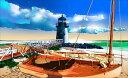 鈴木英人「漁の休息」-COMFORTABLE SEA BREEZE- 2008年 EMグラフ 額付版画作品 国内 送料無料