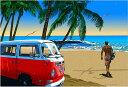 鈴木英人「タートルベイのサーファー」-LIFE IS WAVE- 2009年 EMグラフ 額付版画作品 国内 送料無料