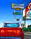 鈴木英人「アメリカン モーター イン」-THE WAY IT WAS- 2009年 EMグラフ 額付版画作品 国内 送料無料