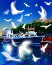鈴木英人「白いモザイク」BIRDS GAME 2012年 EMグラフ 額付版画作品国内 送料無料
