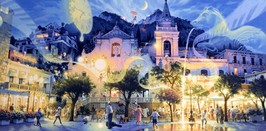 笹倉鉄平 「夢の開放」(Dx) 2001年 シルクスクリーン 額付版画作品