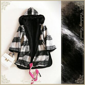 用毛皮可以用可逆連帽雨披 / 外層斗篷,斗篷羊毛可逆毛皮 [caa38]