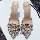 贅沢なパールビジュー エレガントパンプス ヒール ビジューサンダル 靴 大きいサイズ