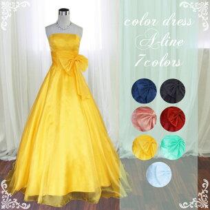 グローブ プレゼント シンプルデザインロングカラードレス ウエディング パーティ