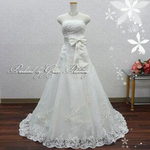 ティアラプレゼント シンプルウエディング ラインロングドレス オフホワイト