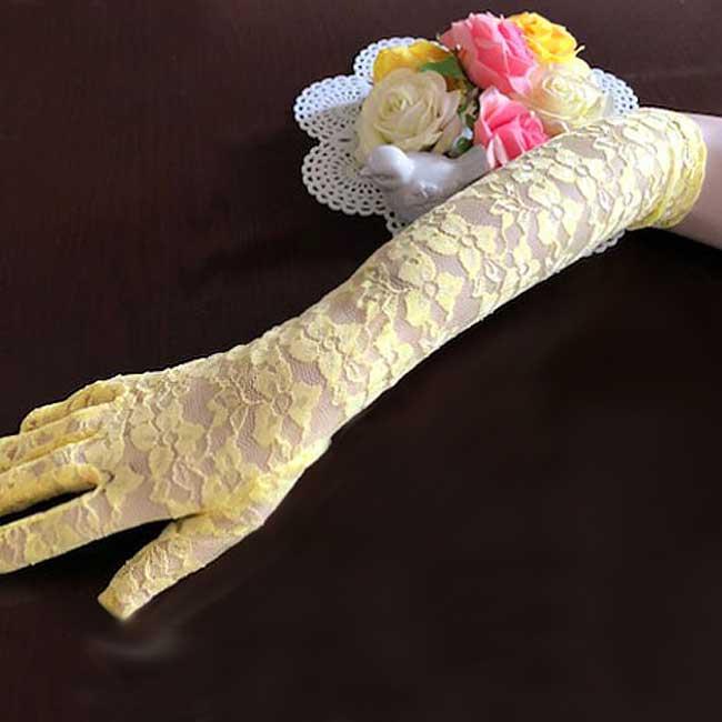 ロンググローブ ウエディンググローブ ドレス用手袋 レースグローブ (イエロー/黄色)花柄レースが柔らかな手袋 ブライダル 小物 上品 綺麗 花嫁 結婚式 披露宴 二次会 ウェディングドレスに合わせて(g213) 【メール便発送可】