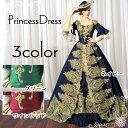 ゴールド刺繍が豪華な中世貴族風お姫様ドレス 舞台衣装やステージ衣装にピッタリのロング丈のプリンセスカ