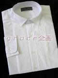 礼装用フォーマルシャツ ホワイト《S〜4XL》立衿ヒダ胸シャツ〜タキシードに格安