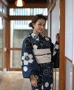 浴衣 レディース 3点セット(浴衣/帯/下駄) 紺 黒 グレージュ さくら サクラ 桜 花 レトロ レトロモダン フリーサイズ