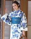 浴衣 レディース 3点セット(浴衣/帯/下駄) 白 ホワイト 紺 ネイビー ブルー 紫 パープル あじさい 花柄