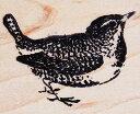 ラバースタンプ 小鳥?ミソサザイ 木の持ち手 ウッドマウント 輸入スタンプ アートスタンプ ゴム印・