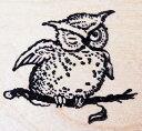ラバースタンプ ふくろう〜ウィンク 木の持ち手 ウッドマウント 輸入スタンプ アートスタンプ ゴム印・スタンプ【05P01Oct16】