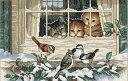 猫と小鳥のクロスステッチ 刺繍キット Dimensions 3匹でバードウォッチ Three Bir