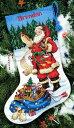 クロスステッチ 刺繍キット Dimensions サンタのリスト クリスマスの靴下 Checking His List