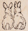 Rubber stamp [Wood mount] import of handles stamp fs2gm of the  bunny back  tree