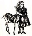 ラバースタンプ 鏡の国のアリス 子鹿とアリス テニエル画 木の持ち手 ウッドマウント 輸入スタンプ アートスタンプ ゴム印 スタンプ