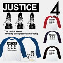 正義 JUSTICE ラグランTシャツ 7分袖 メンズ レディース ペアルック カップル お揃い 兄弟 友達 男女兼用 ユニセックス