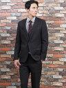 【メンズ】2WAYストレッチ洗えるスラックス スリムフィット2ピーススーツ シャドーストライプ チャコール スリムスタイルスーツ
