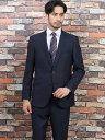 【メンズ】洗えるスラックス レギュラーフィット2ピーススーツ グレンチェック 紺 レギュラースタイルスーツ