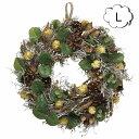 ショッピングクリスマスリース 森のリース Lサイズ お花 XS-139L フェイクリース インテリアグリーン 人工観葉植物 フェイクグリーン 造花 クリスマスリース リース フェイクリース 造花 クリスマス 玄関 ドア 室内 壁面装飾