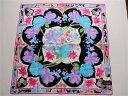 レオナール LEONARD 花柄 手捺染 素敵なミニスカーフハンカチ シルク混 日本製 (水色・ピンク・パープル)