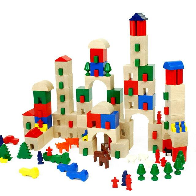 木のおもちゃ積み木ハバ街が作れる積木アムステルダム166ピース4歳5歳6歳誕生日プレゼントおもちゃ男