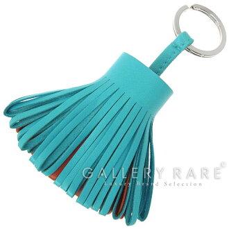 Hermes key holder Carmen blue Aztec x brick x silver metal lambskin HERMES key ring bag charm fringe RG06